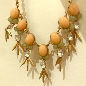 JCREW statement necklace, peach/ mint green